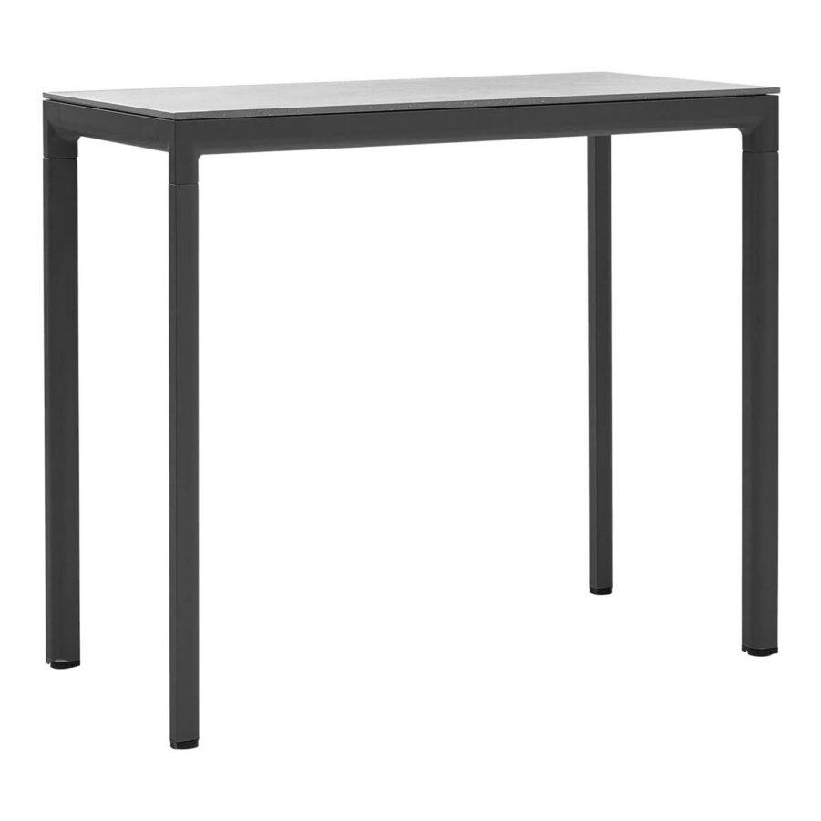Cut barbord i lavagrått med grå keramikbordsskiva.