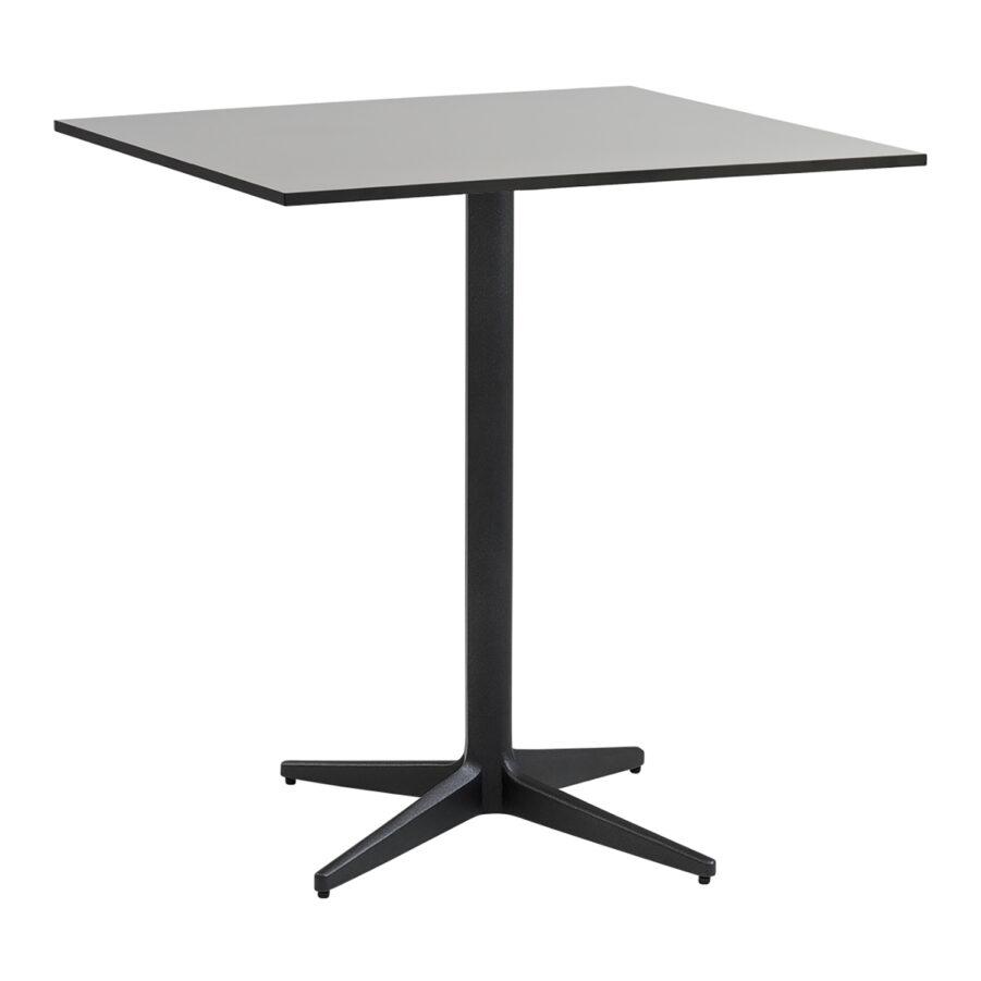 Drop cafébord i storleken 75x75 cm i färgen lavagrå med grå bordsskiva.