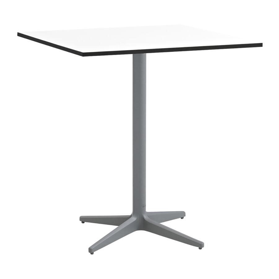 Drop cafébord i storleken 75x75 cm i färgen ljusgrå med vit bordsskiva.