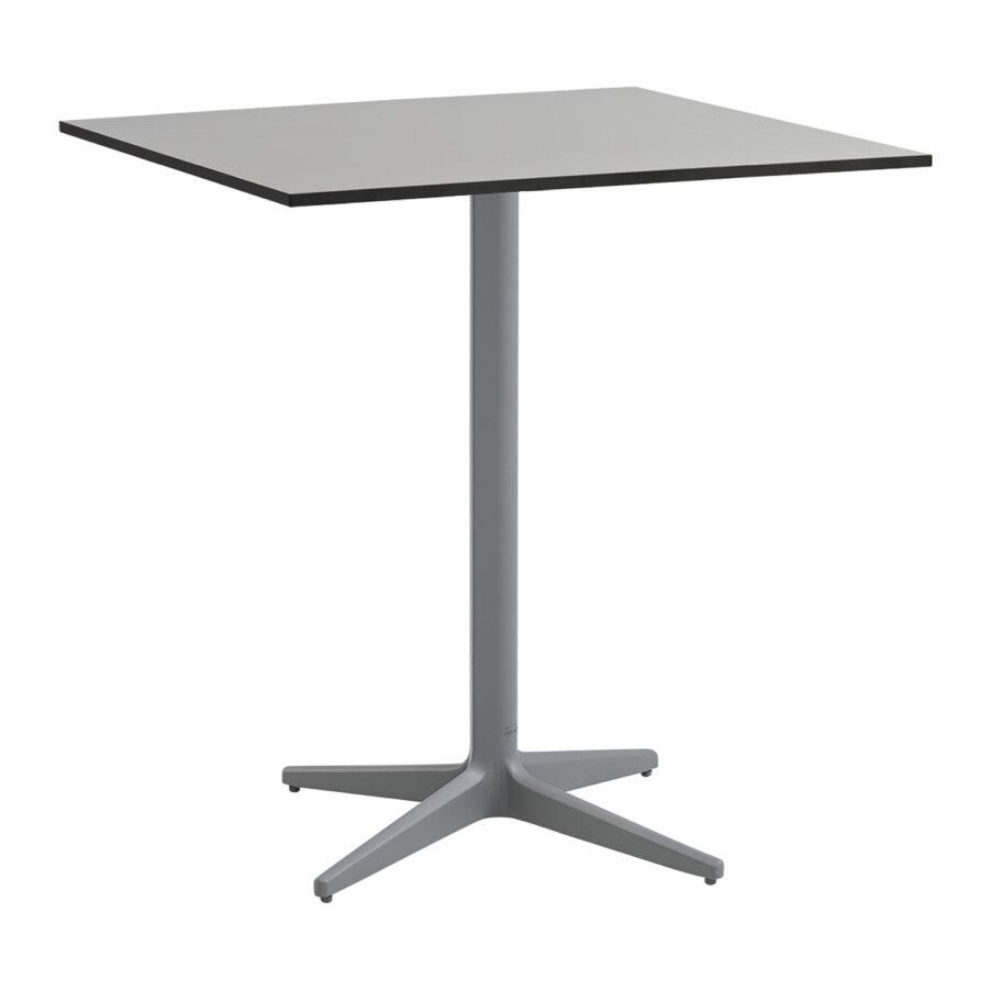 Drop cafébord i storleken 75x75 cm i färgen ljusgrå med grå bordsskiva.
