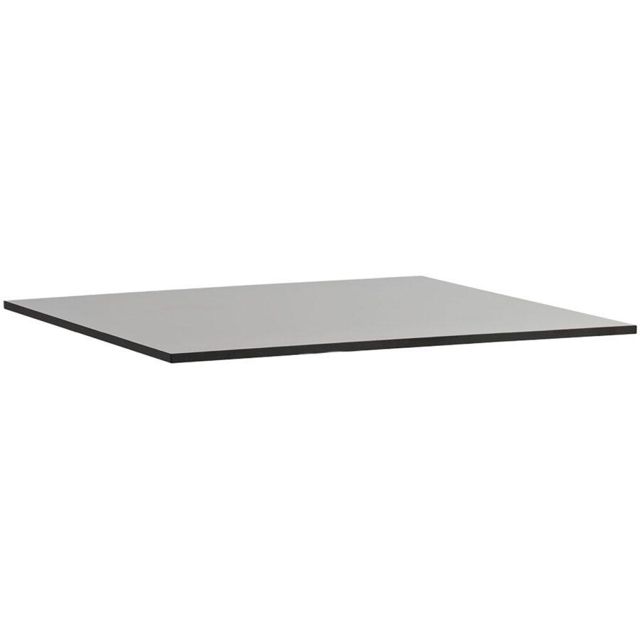 Grå laminatskiva i storleken 75x75 cm.