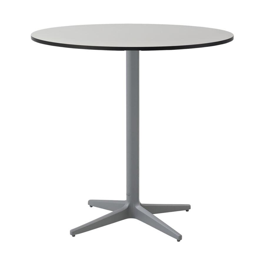 Drop cafébord i ljusgrått med grå laminatskiva i storleken Ø75 cm.
