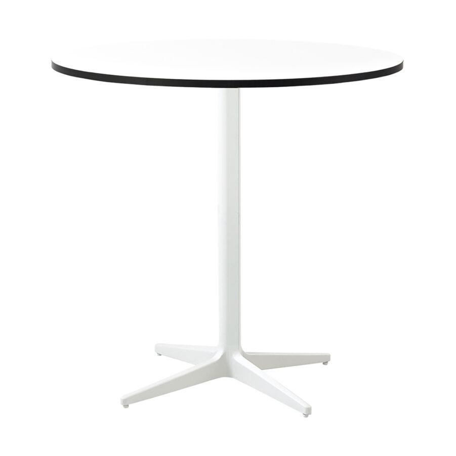 Drop cafébord i vitt med vit laminatskiva i storleken Ø75 cm.