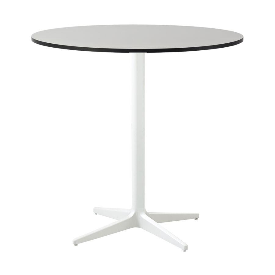 Drop cafébord i vittt med grå laminatskiva i storleken Ø75 cm.