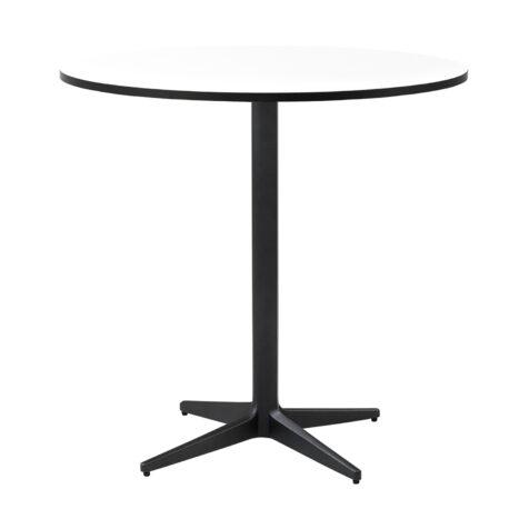 Drop cafébord i lavagrått med vit laminatskiva i storleken Ø75 cm.