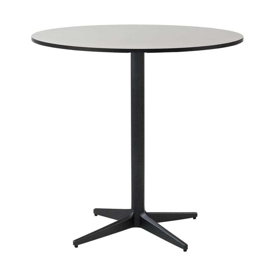 Drop cafébord i lavagrått med grå laminatskiva i storleken Ø75 cm.