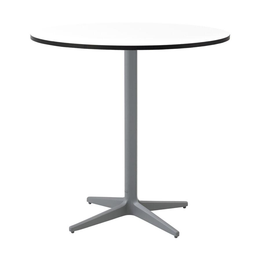 Drop cafébord i ljusgrått med vit laminatskiva i storleken Ø75 cm.