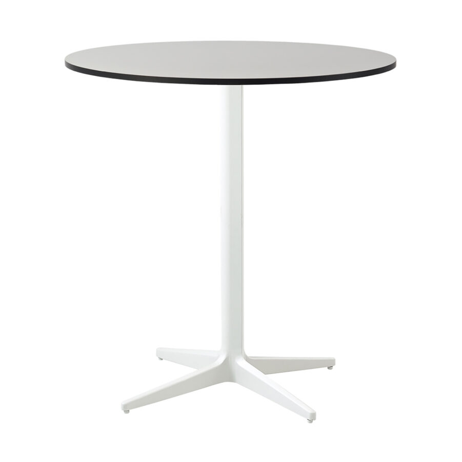 Drop cafébord i vitt med grå laminatskiva.