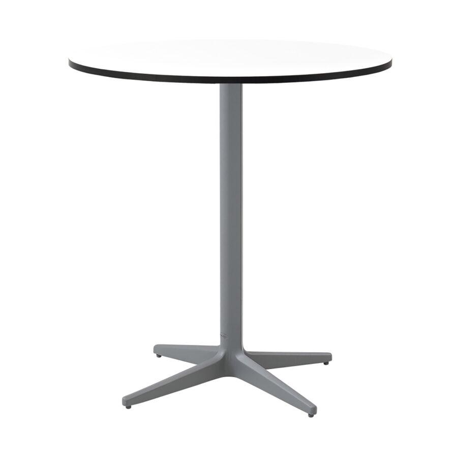 Drop cafébord i grått med vit laminatskiva.