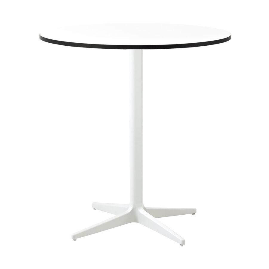 Drop cafébord i vitt med vit laminatskiva.