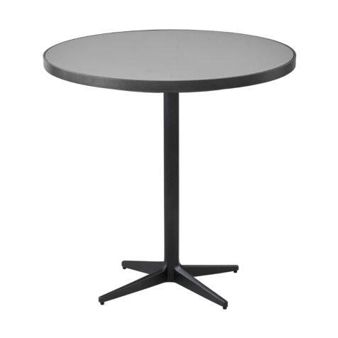 Drop cafébord i lavagrå aluminium med keramikskiva.