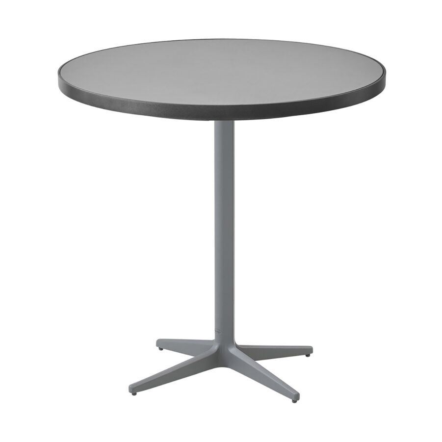 Drop cafébord i ljusgrå aluminium med keramikskiva.