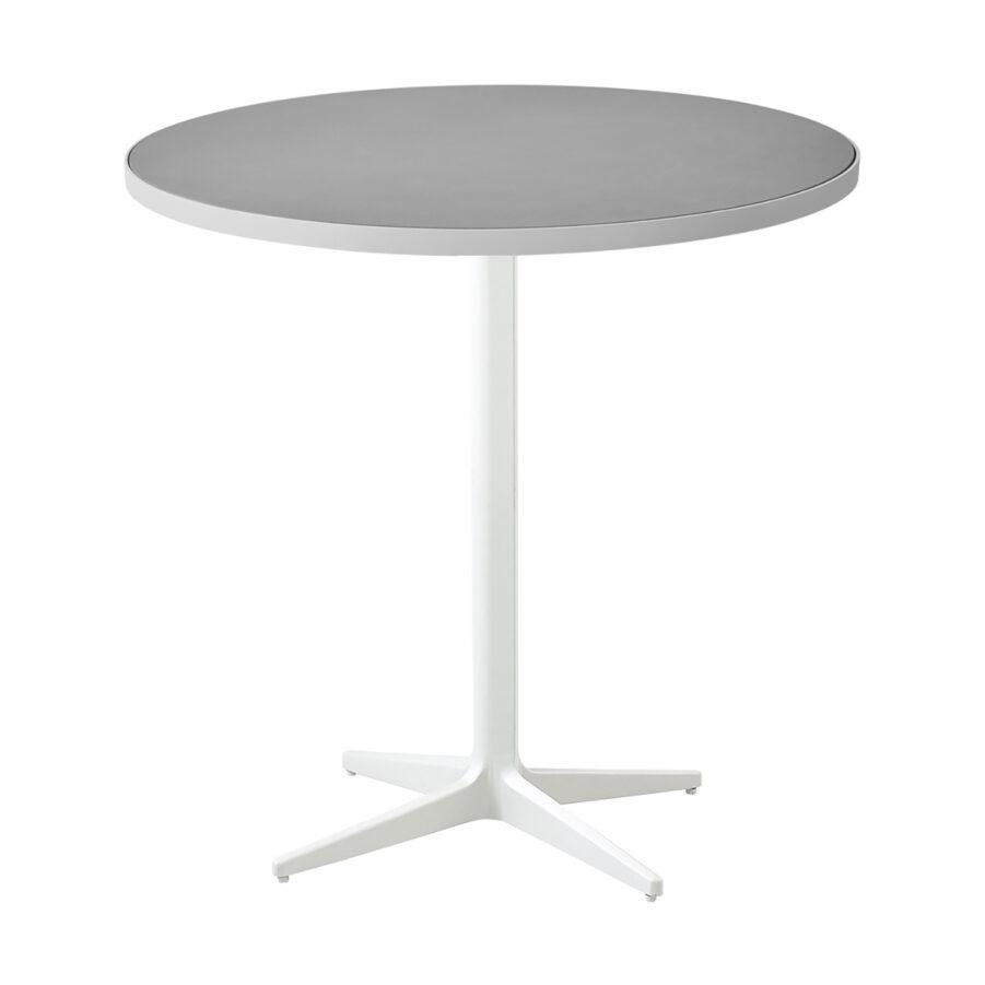 Drop cafébord i vit aluminium med keramikskiva.