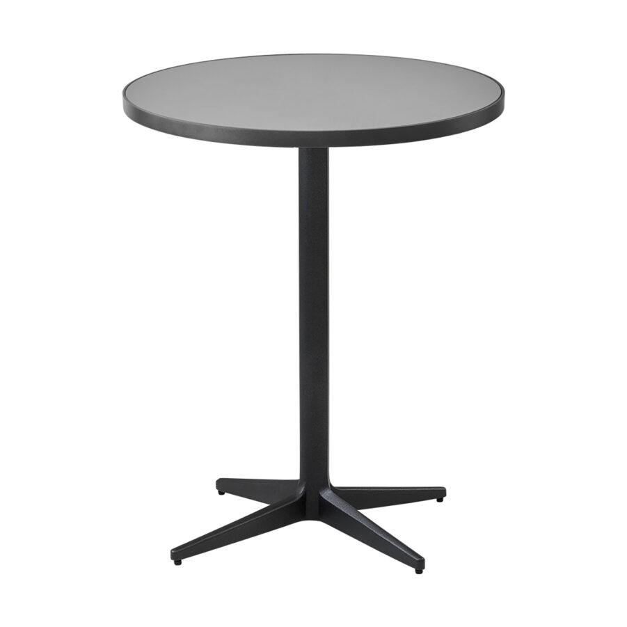 Cafébordet Drop i lavagrått med bordsskiva i ljusgrå keramik.