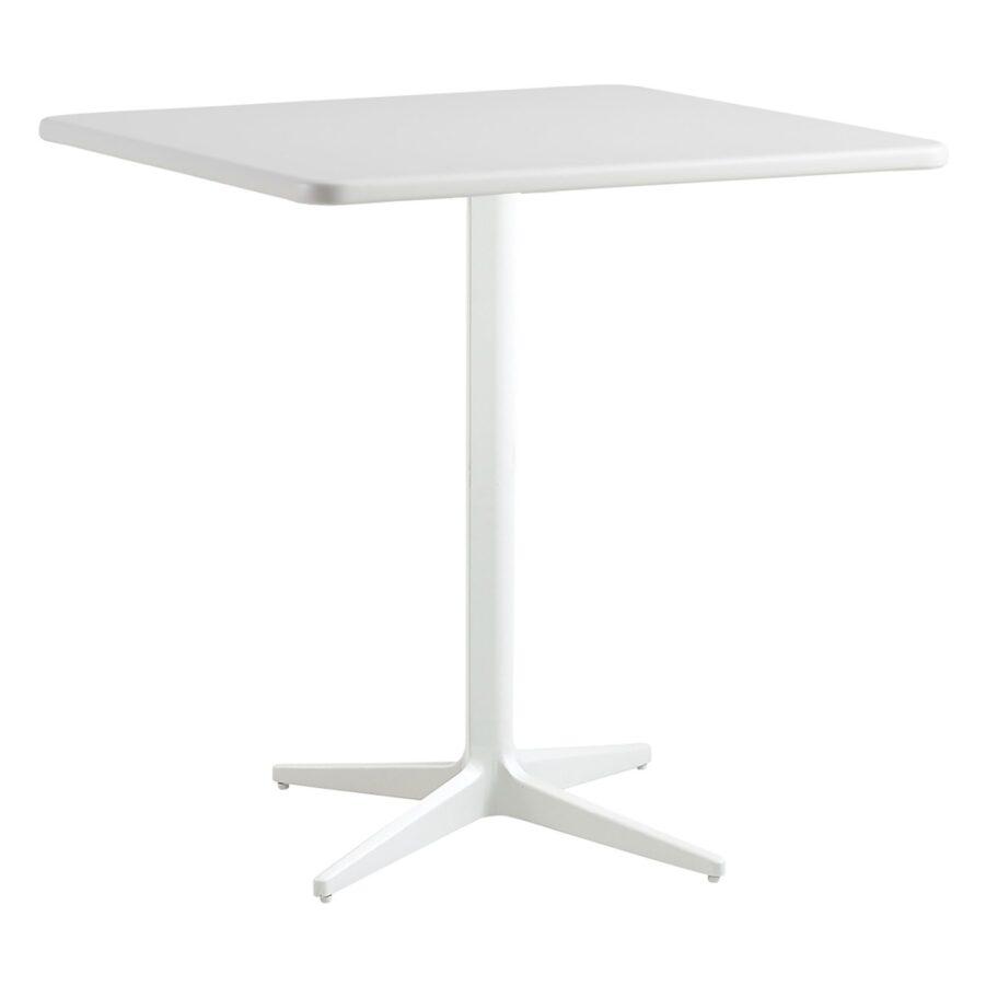 Drop kvadratiskt cafébord i aluminium i färgen vitt.