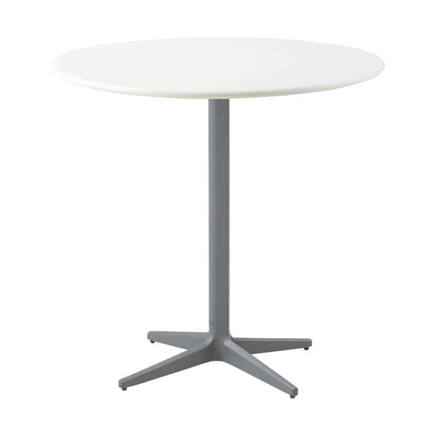 Drop cafébord i i ljusgrått och vitt i storleken 80 cm i diameter.