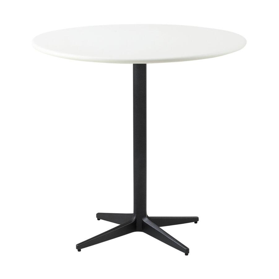 Drop cafébord i i lavagrått och vitt i storleken 80 cm i diameter.