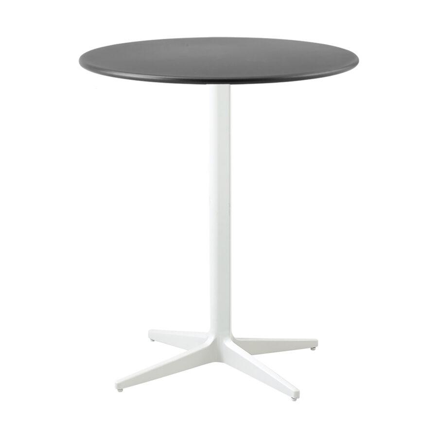 Drop cafébord i lavagrått och vitt i storleken 60 cm i diameter.