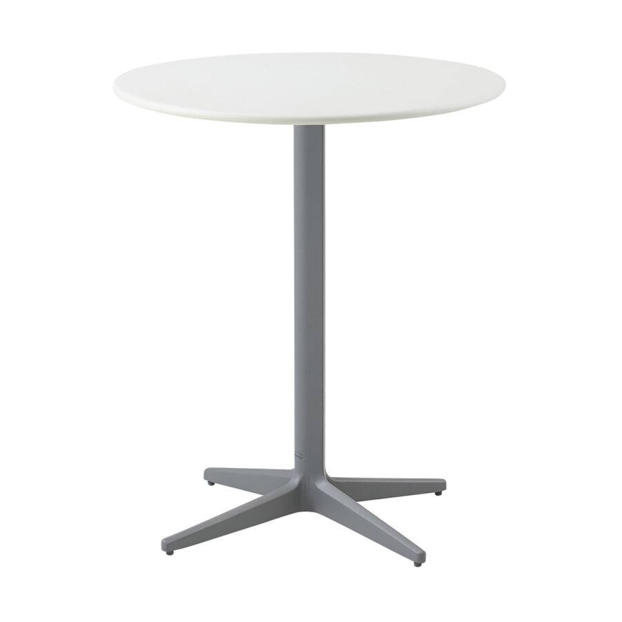 Drop cafébord i ljusgrått och vitt i storleken 60 cm i diameter.