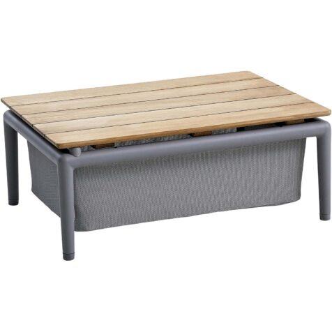 Conic boxbord i ljusgrått och teak.