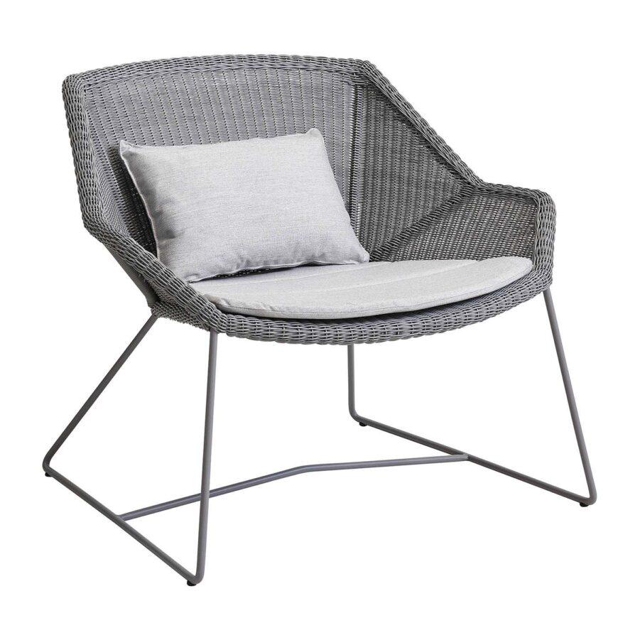 Breeze loungefåtölj i ljusgrått med ljusgrå dyna.