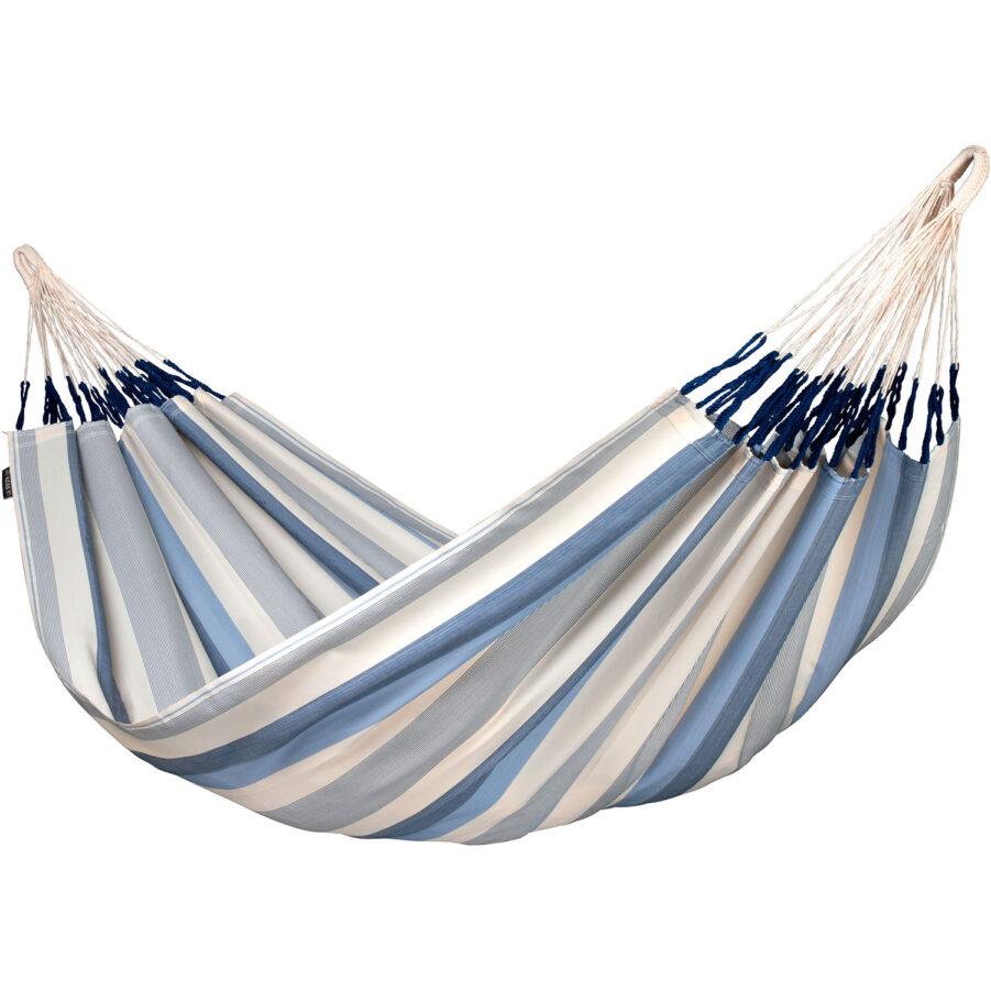 Brisa hängmatta i den blå randiga färgen Sea salt.