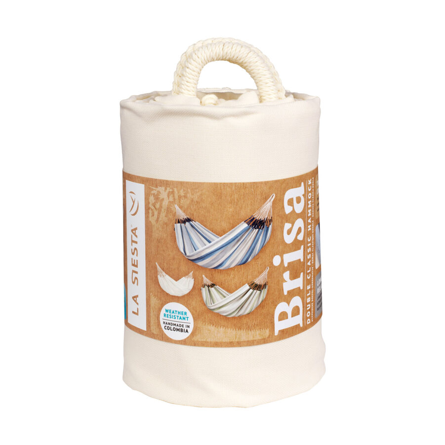 Förpackning till hängmattan Brisa i färgen vanilj.