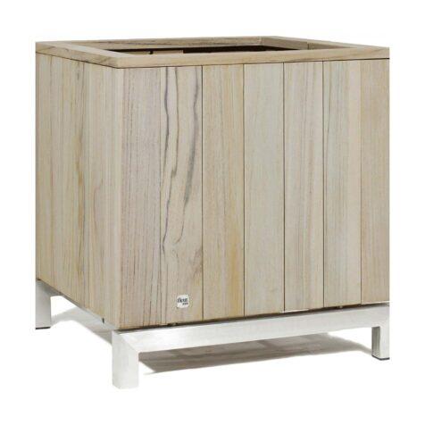 Kayu planteringskärl i rostfritt stål och vintage teak med måtten 60x60x65 cm.
