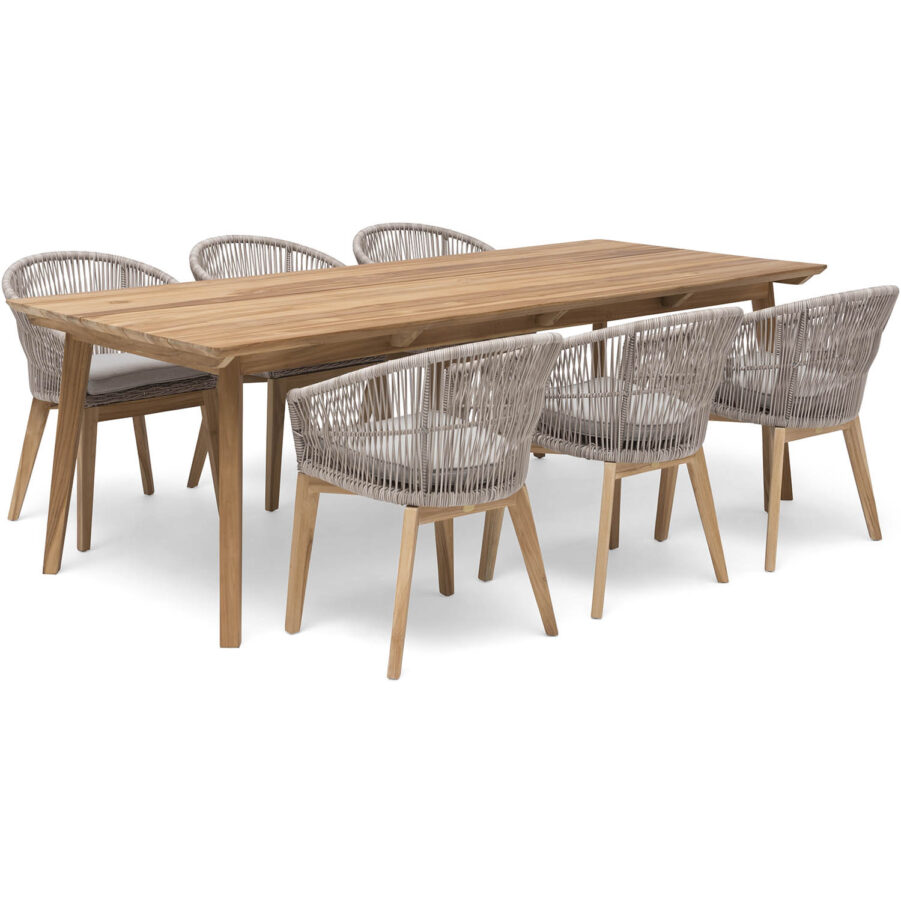 Bild på Himmelsnäs matgrupp med beiga stolar.