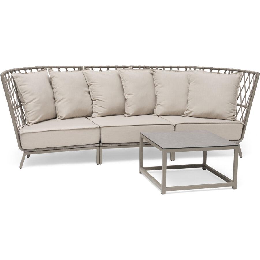 Bild på Jet Set loungesoffa i beige med soffbord.