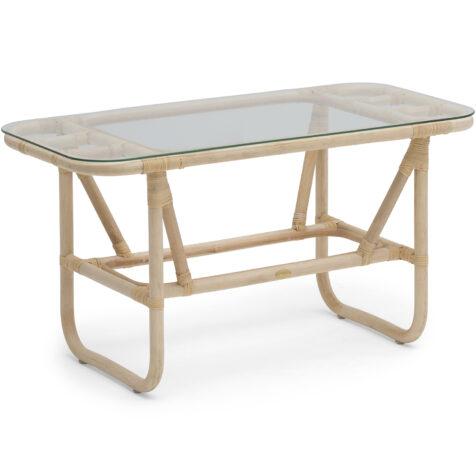 Lyckesö soffbord i naturrotting och glas.