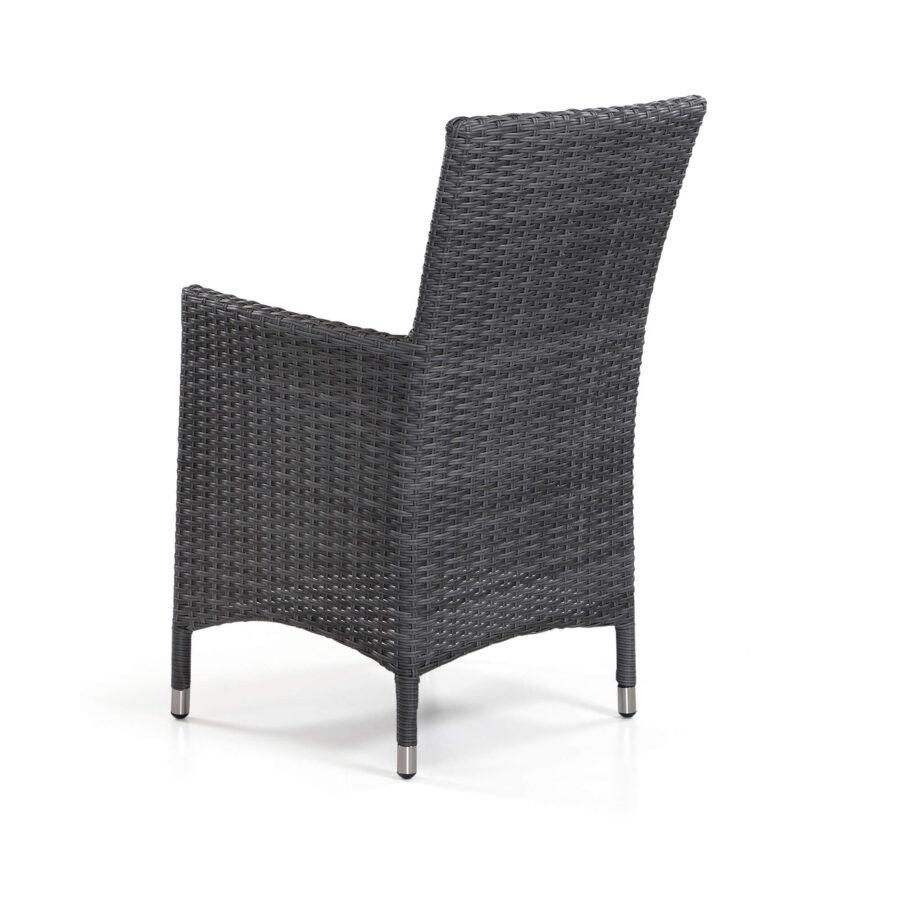 Devon karmstol i antracitgrå konstrotting med mörkgrå dyna.