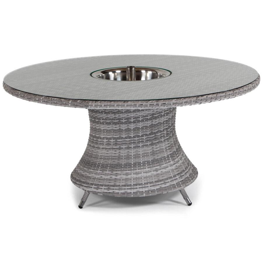 Hastings bord Ø150 cm i pärlgrå konstrotting med dryckeskyl.