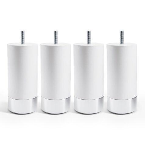Cylinder sängben i vitt.