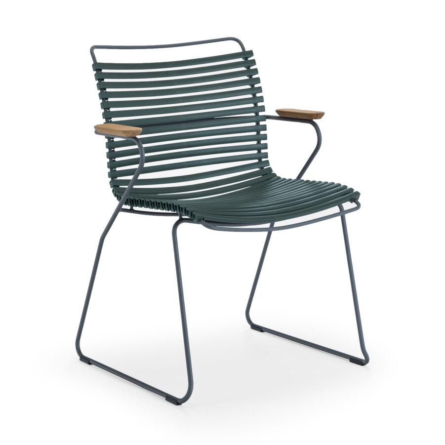Click karmstol med låg rygg i färgen tallgrön.