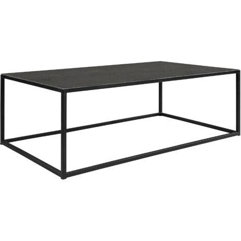 Amalfi soffbord i storleken 130x75 cm i svart järn med skiva i sten.