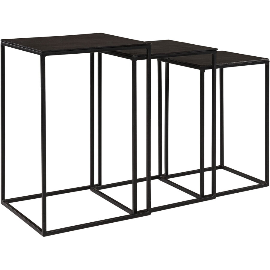 Nova sidobordsset i järn och aluminium i svart.