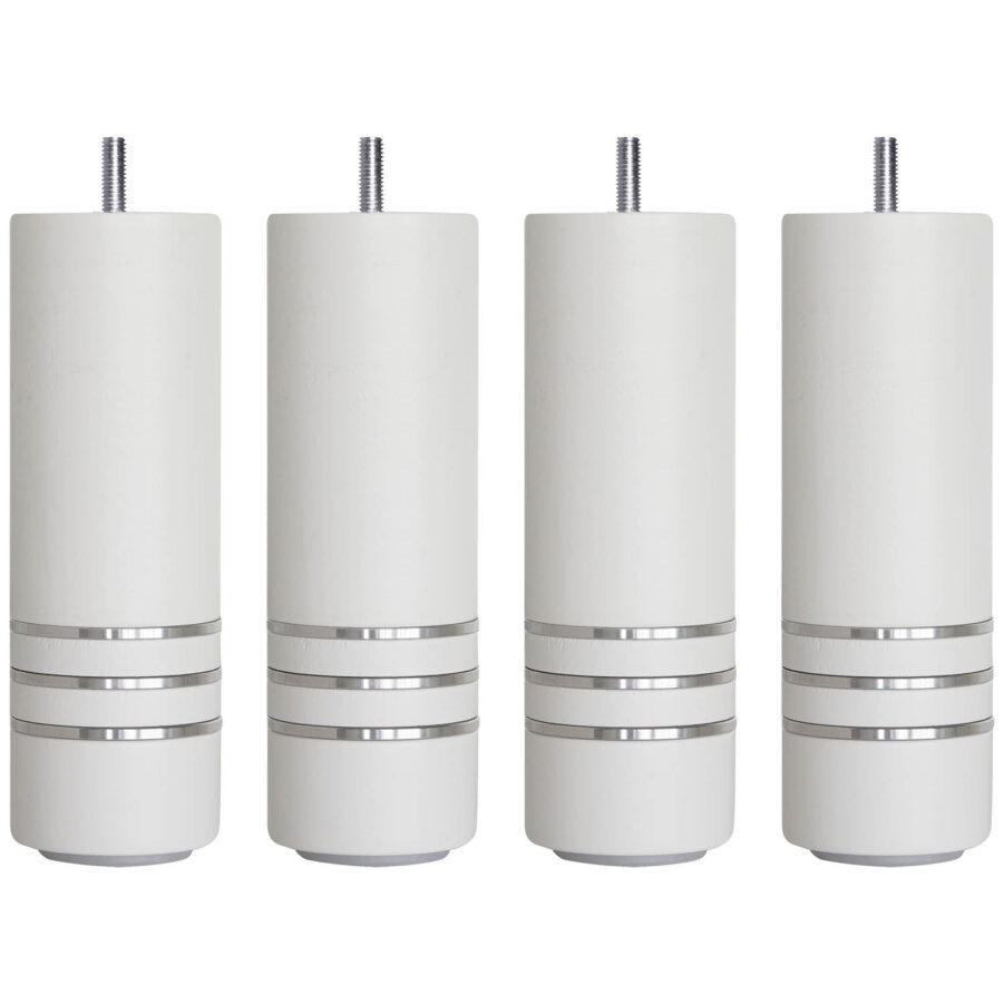 Runda sängben i färgen vit med aluminiumringar från Carpe Diem.