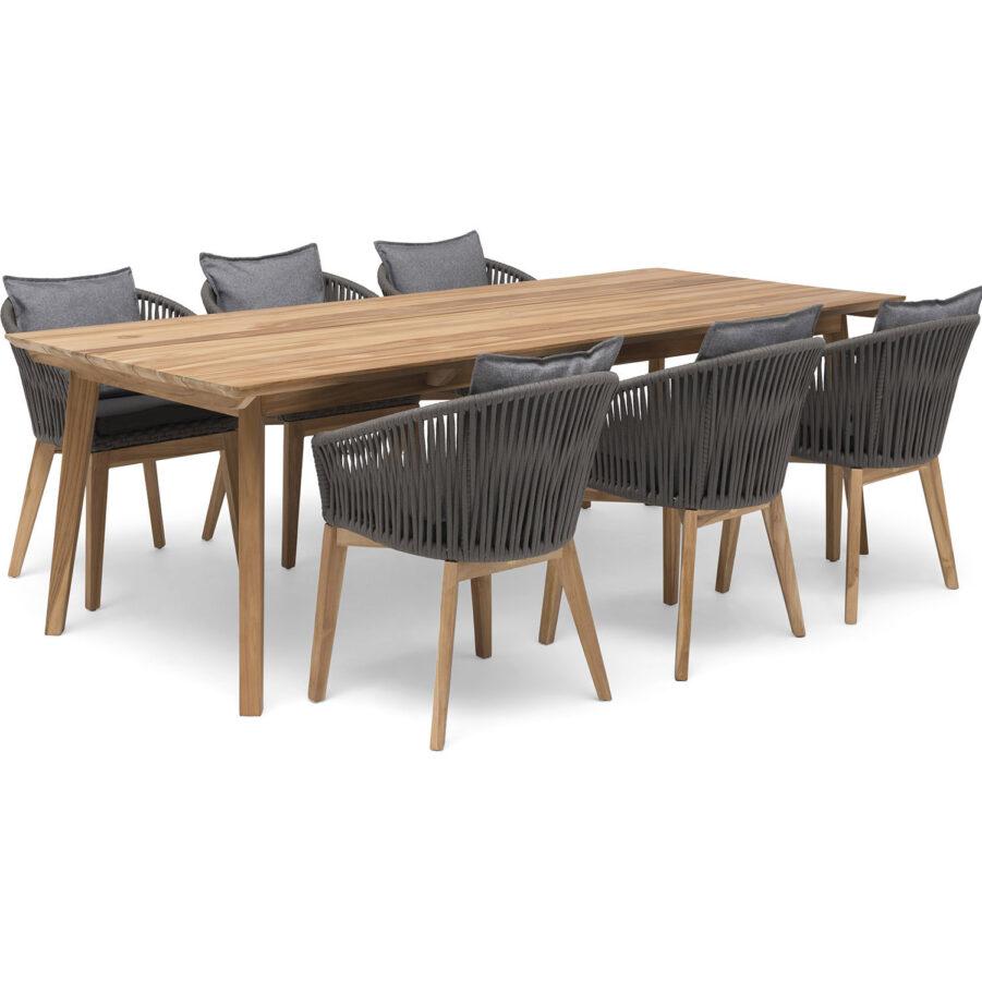 Miljöbild på Himmelsnäs matgrupp med stolar i grå tygband.
