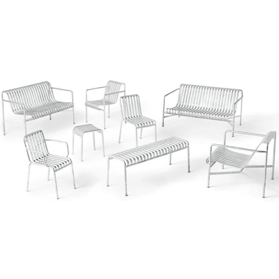 Bild på alla möbler i Pallisade-serien i galvaniserad stål.