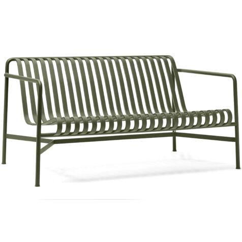 Palissade loungesoffa i olivgrön pulverlackerad stål.