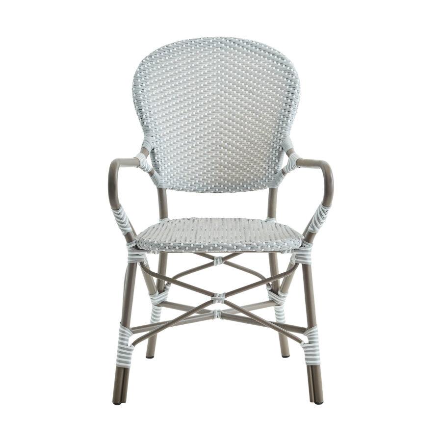 Bild framifrån på Isabell karmstol i färgen taupe.