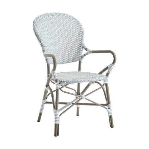 Isabell karmstol i färgen taupe.