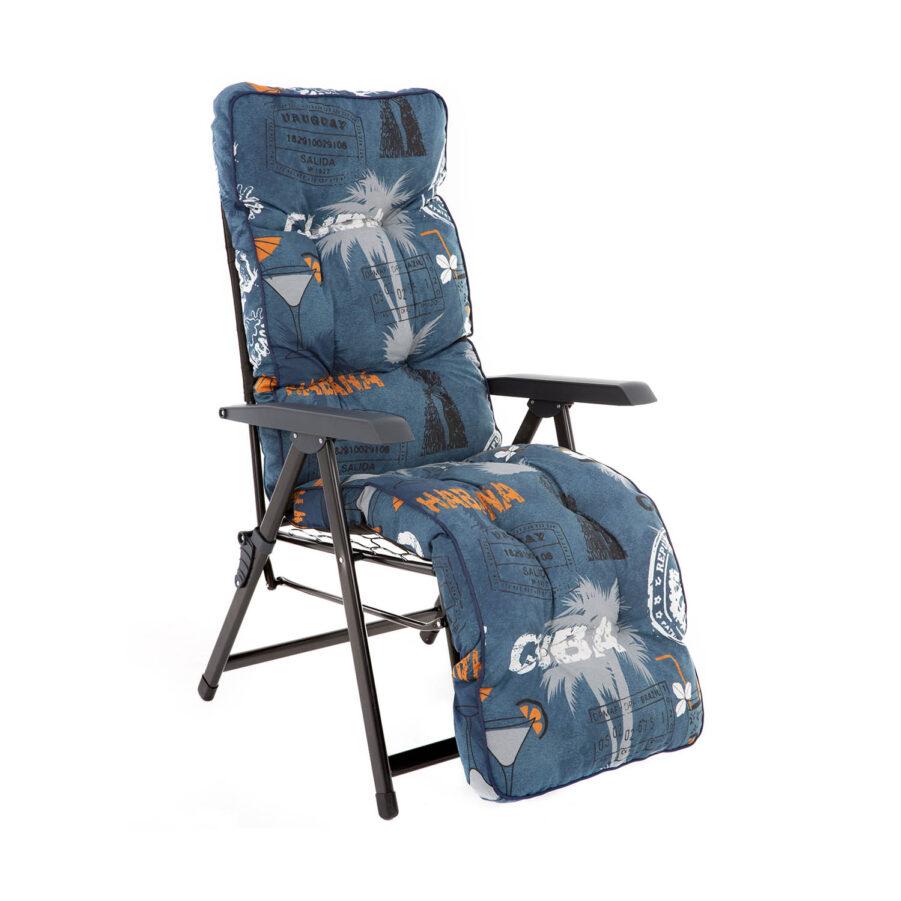 Baden Baden stol med blå mönster.