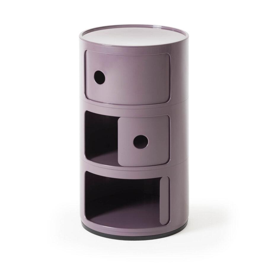 Compinibili med tre lådor i lila från Kartell.
