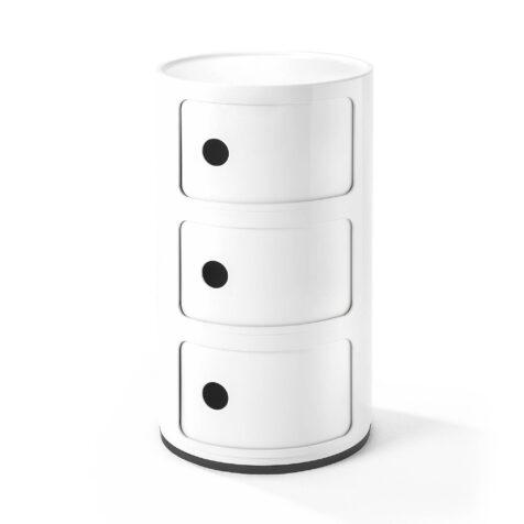 Compinibili med tre lådor i vitt från varumärket kartell.