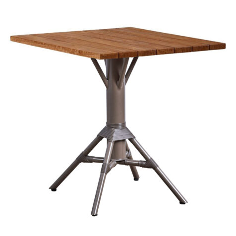 Nicole cafébord i aluminium och återvunnen teak.