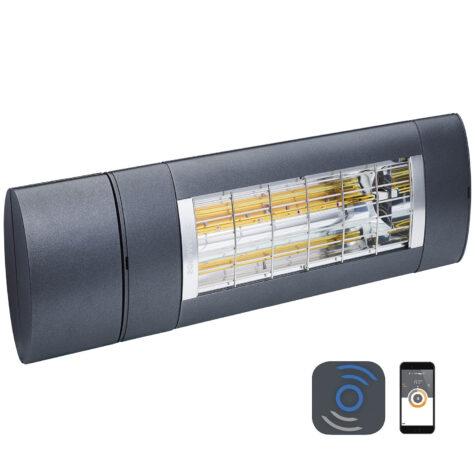 Solamagic Premium värmelampa 2000 watt med bluetooth styrning i antracitgrå.