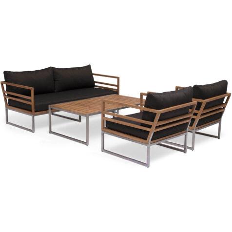 Bild på soffgruppen Kaxheden med två fåtöljer, soffa och soffbord.