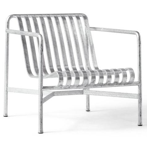 Produktbild på Palissade fåtölj låg rygg från Hay i galvaniserad stål.